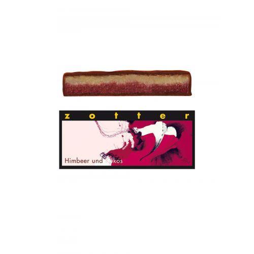 Himbeer und Kokos von Zotter - Handgeschöpfte Schokolade, BIO, 70 g Tafel