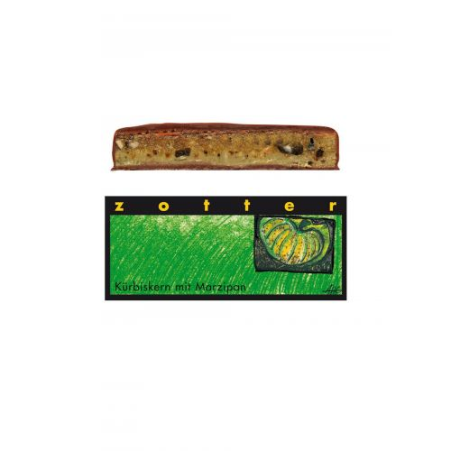 Kürbiskern mit Marzipan von Zotter - Handgeschöpfte Schokolade, BIO, 70 g Tafel