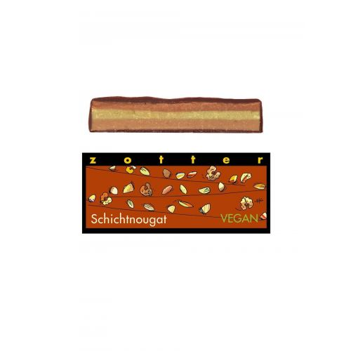Schichtnougat von Zotter - Handgeschöpfte Schokolade, BIO, 70g Tafel